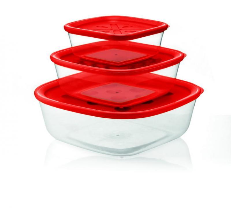 Contenitori da frigo Guzzini set tre misure colore rosso