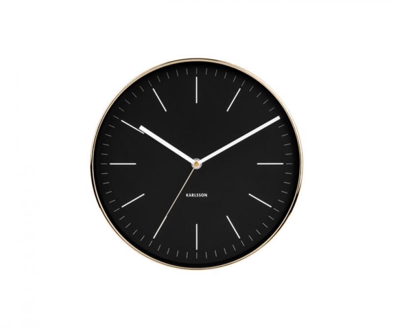 Orologio da parete moderno Karlsson cassa oro quadrante nero cm 27