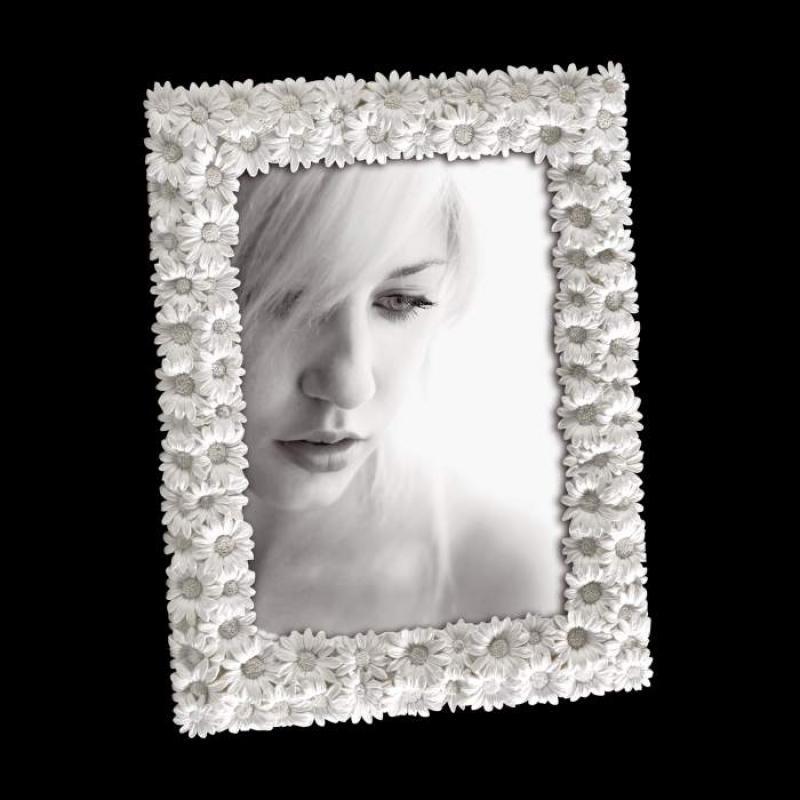 Portafoto da tavolo con margherite cm13x18 cornice per foto bianca con fiori a rilievo