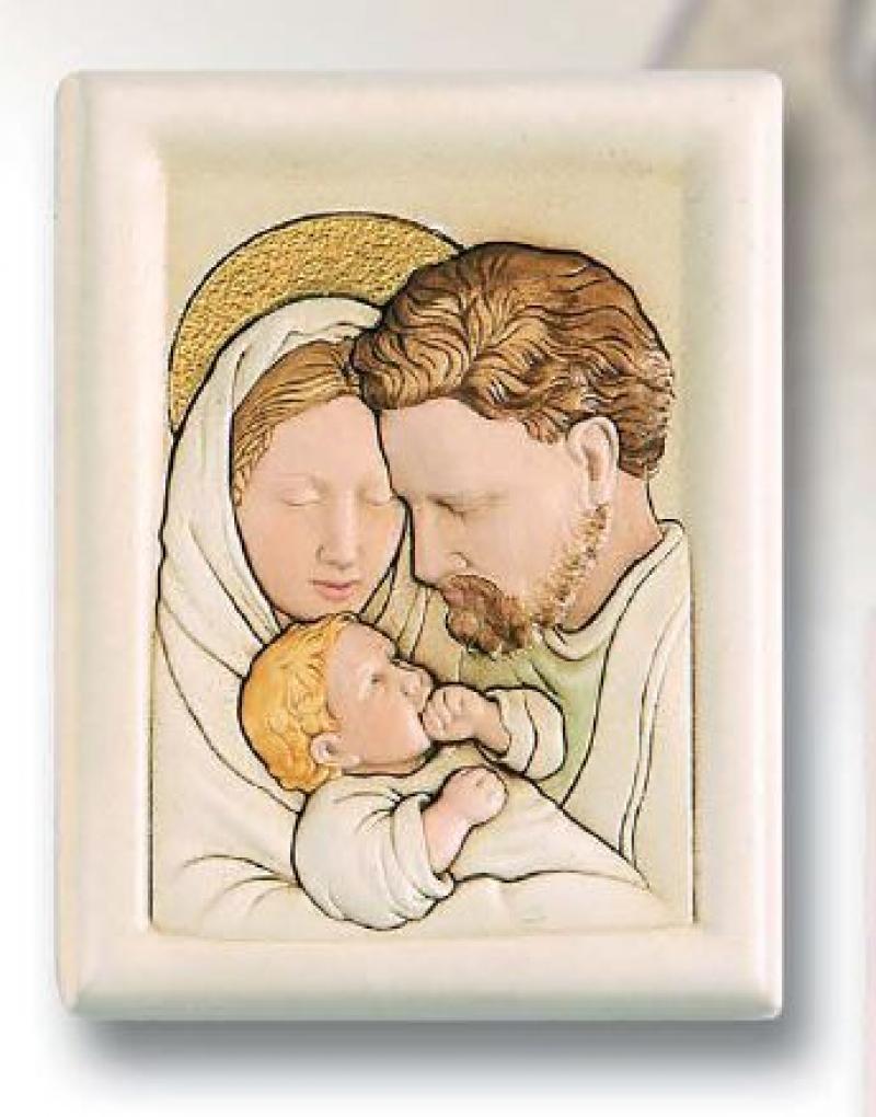 Quadro Sacra Famiglia Icona Ceramica Bassorilievo Shan Dipinta