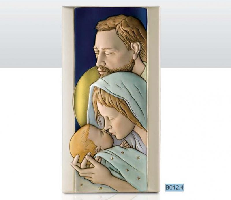 Quadro Sacra Famiglia In Ceramica Bassorilievo Shan Dipinta Verticale Sfondo Blù